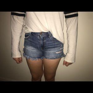 Dark blue ripped shorts!